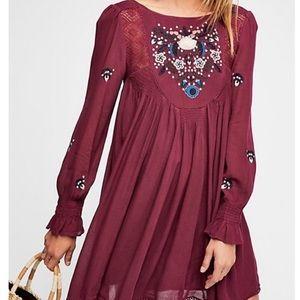 NWT Free People Purple Dress Moya Dress Sz L